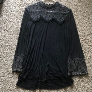 POL black mineral washed lace tunic M